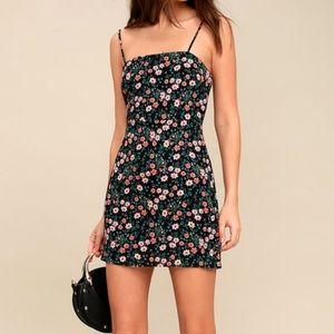 Lulu's As If black floral print mini dress